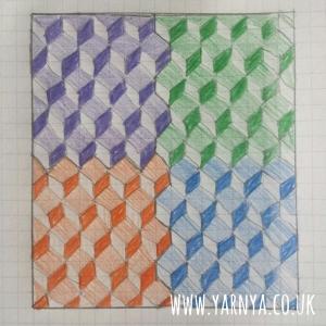 A peep into my WIP pile www.yarnya.co.uk Cube Blanket Sketch