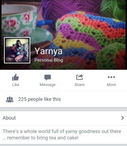 My Facebook Page has Officially Become Yarnya www.yarnya.co.uk