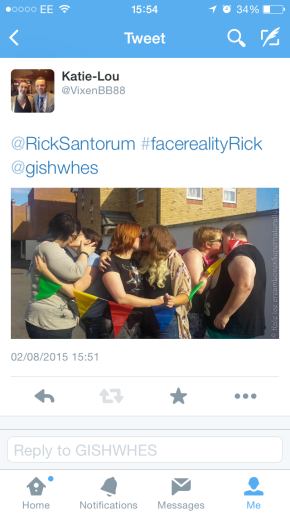 Tweet a photo of two men or women kissing each other (clothed) to @Ricksantorum #facerealityRick @gishwhes